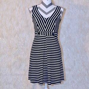 Black & White Stripped Dress With Button Details